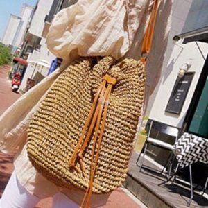 3/$60 Straw Paper Boho Drawstring Bucket Backpack